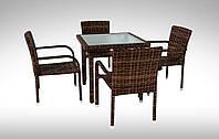 Комплект  плетеный из искусственного ротанга  для кафе  Стол Lepre VI 80 x80см  + 4 кресла Topazio