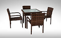 Комплект для кафе плетеный Стол Lepre VI 80 x80см  + 4 кресла Topazio