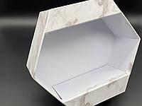 Коробки для цветов с ножкой. Цвет белый мрамор. 22х9м