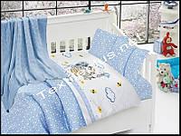 Постельное белье детское с вязаным покрывалам First Choice бамбук Kitty mavi