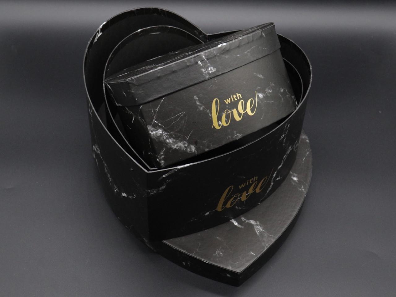 Коробка подарункова серце. Три шт/комплект. Колір чорний. 25х25х12см