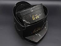 Коробка подарункова серце. Три шт/комплект. Колір чорний. 25х25х12см, фото 1