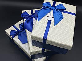 Коробка подарочная. Три шт/комплект. Цвет бело-синяя. 23х16х10см.