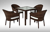 Комплект для кафе плетеный Стол Lepre VII 80 x80см  + 4 кресла Gabbiano