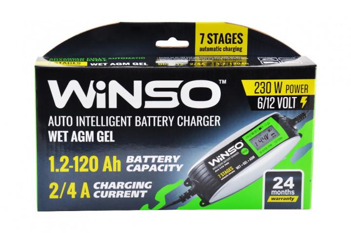 Импульсное зарядное устройство для гелевых мото аккумуляторов 6-12В 4А, WINSO 139700