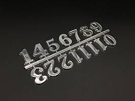 Цифри для годин. Колір срібло. 2.5 см