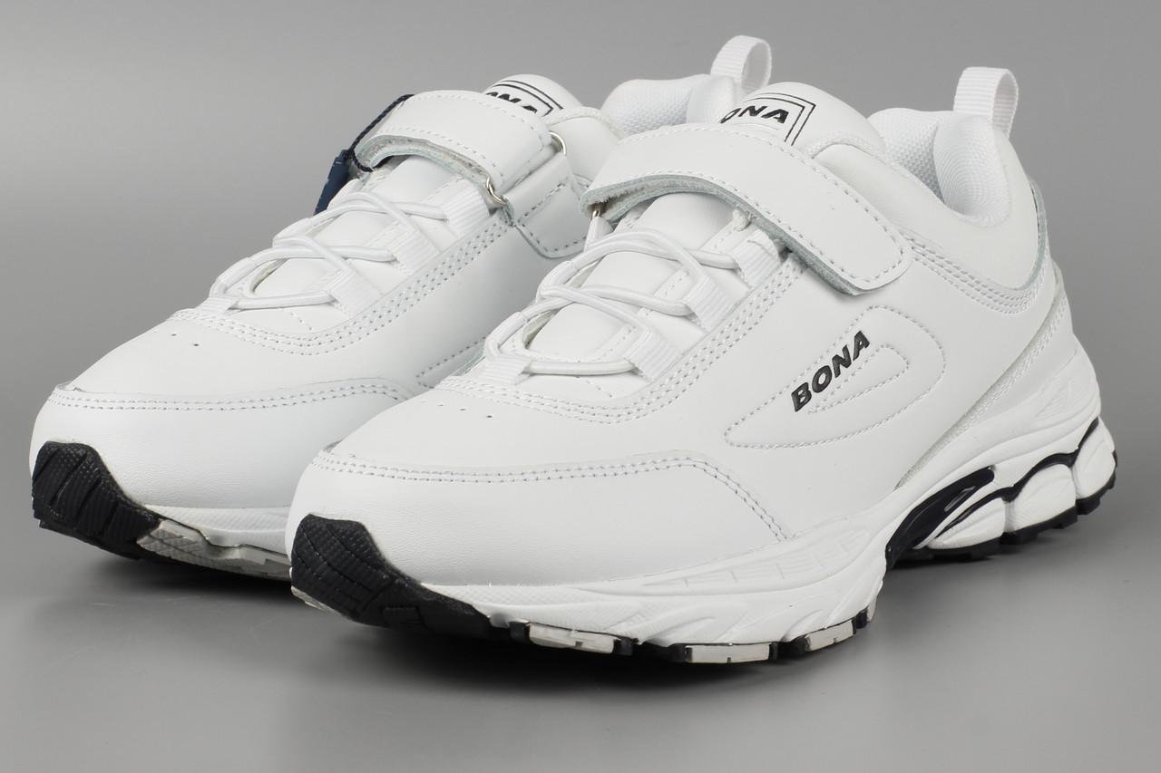 Кроссовки детские кожаные белые Bona 848A-11 Бона Размеры 31 32 33 34 36