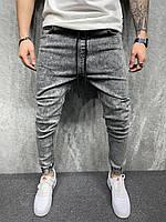 Мужские джинсы джогеры (серые) крутые модные со шнурком на поясе AES8062-1
