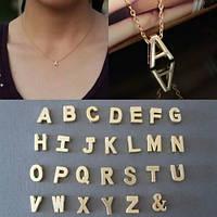 Милое украшение на шею ― позолоченный кулон буква―эксклюзивный лаконичный дизайн, фото 1