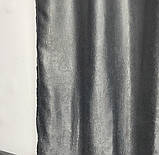 Двусторонние готовые шторы на тесьме блэкаут софт 150х270 ( 2шт ) с тюлем 400х270. Цвет Серый, фото 9