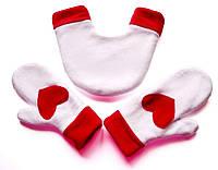 Варежки для пары Бело-красные