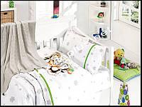 Постельное белье детское с вязаным покрывалам First Choice бамбук Penguins yesil