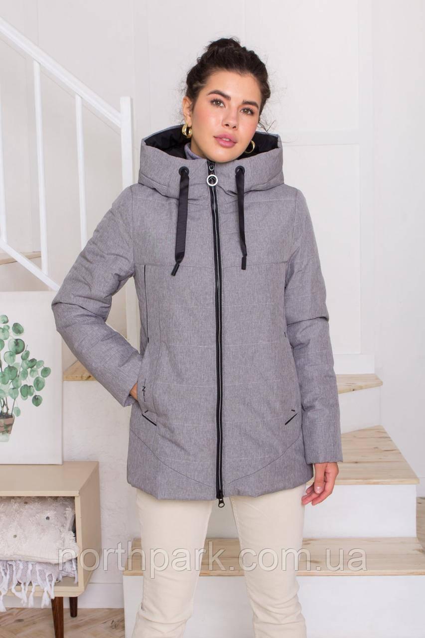 Жіноча універсальна демісезонна куртка Дн-6, сіра меланж