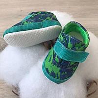 """Пінетки текстильні BetiS """"Модель-6"""" Хлопчик Зелений Джинс 27683987 Розмір 12 см"""