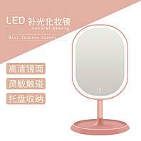 Зеркало овальное с LED подсветкой для макияжа Розовое (W-38) / Косметическое зеркало с пдсветкой ск2