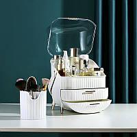 Набор для макияжа 3в1 LED зеркало+Органайзер для косметики+стакан для кисточек Белый (W-54) ск2