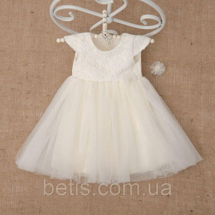 """Плаття BetiS """"Діамант"""" із заколкою Молочний Атлас,фатін 27078200 Зріст 98"""