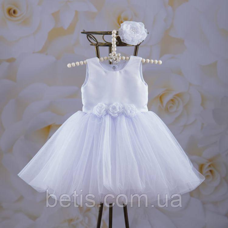 """Плаття BetiS """"Емілія"""" з пов'язкою Білий Атлас,фатін 27081325  Зріст 92"""