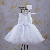 """Плаття BetiS """"Емілія"""" з пов'язкою Білий Атлас,фатін 27081325  Зріст 92, фото 1"""