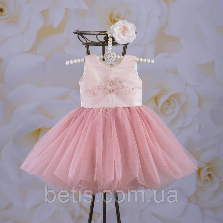 """Плаття BetiS """"Настюша"""" з вишивкою,з пов'язкою Пудровий Атлас,фатін 27681168  Зріст 104"""