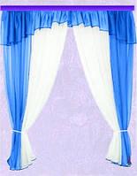 Комплект штор Тина, лазурь кухонные