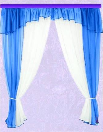 Комплект штор Тина, лазурь кухонные, фото 2