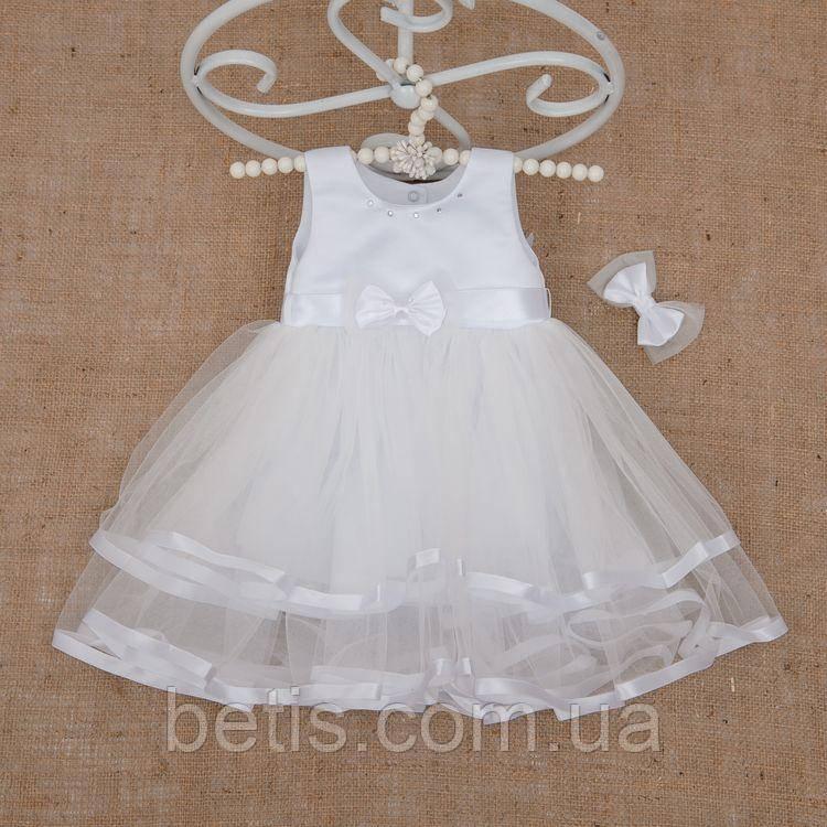 """Плаття BetiS """"Оленка"""" із заколкою Білий Атлас,фатін 27077378  Зріст 98"""