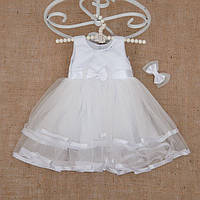 """Плаття BetiS """"Оленка"""" із заколкою Білий Атлас,фатін 27077378  Зріст 98, фото 1"""