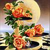 """Рисунок на ткани для вышивания бисером """"Лунные розы"""""""