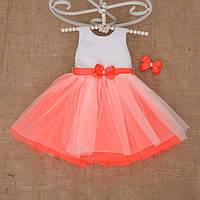 """Плаття BetiS """"Чарівниця"""" із заколкою Оранжовий Атлас,фатін 27079861 Зріст 98, фото 1"""