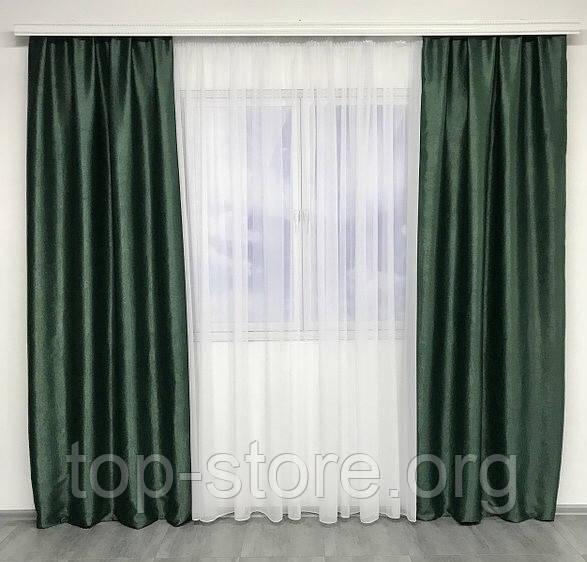 Комплект готових штор на тасьмі блекаут софт 150х270 ( 2шт ) з тюлем 400х270. Колір Зелений
