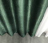 Комплект готових штор на тасьмі блекаут софт 150х270 ( 2шт ) з тюлем 400х270. Колір Зелений, фото 3