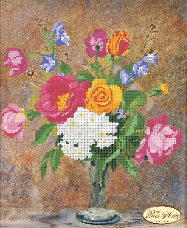 """Рисунок на ткани для вышивания бисером """"Розы и Колокольчики"""""""