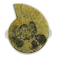 Пирит в аммоните ископаемом серебряное кольцо, 1938КП