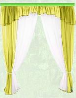 Комплект штор Тина, оливка кухонные