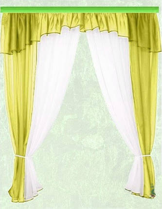 Комплект штор Тина, оливка кухонные, фото 2