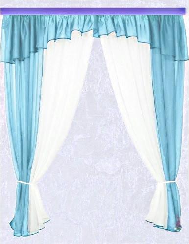 Комплект штор Тина, голубая кухонные