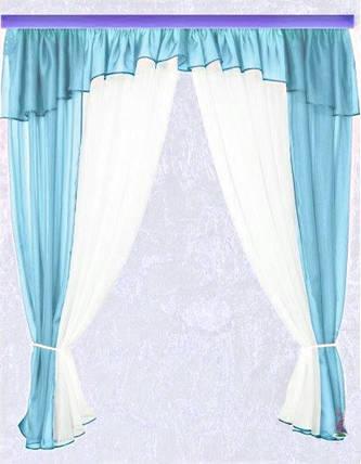 Комплект штор Тина, голубая кухонные, фото 2