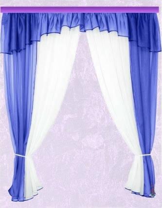 Комплект штор Тина, Синяя кухонные, фото 2
