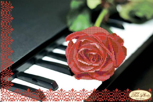 """Рисунок на ткани для вышивания бисером """"Пианино и роза"""", фото 2"""