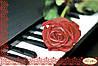 """Рисунок на ткани для вышивания бисером """"Пианино и роза"""""""