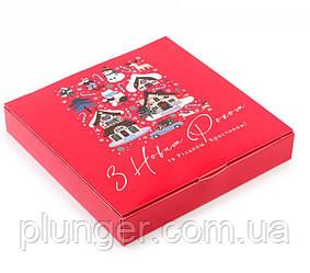 Коробка для печива, пряників, цукерок, 18.5 см х 18.5 см х 3 см, мілований картон Червона