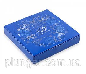 Коробка для печива, пряників, цукерок, 18.5 см х 18.5 см х 3 см, мілований картон Синя