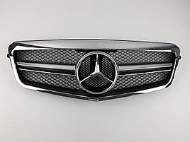 Решітка радіатора на Mercedes E-Class W212 2009-2013 рік AMG стиль ( Чорна з хром рамкою )