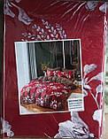Комплект постельного белья двухсторонний  Цветы на красном Ткань Полисатин, фото 2