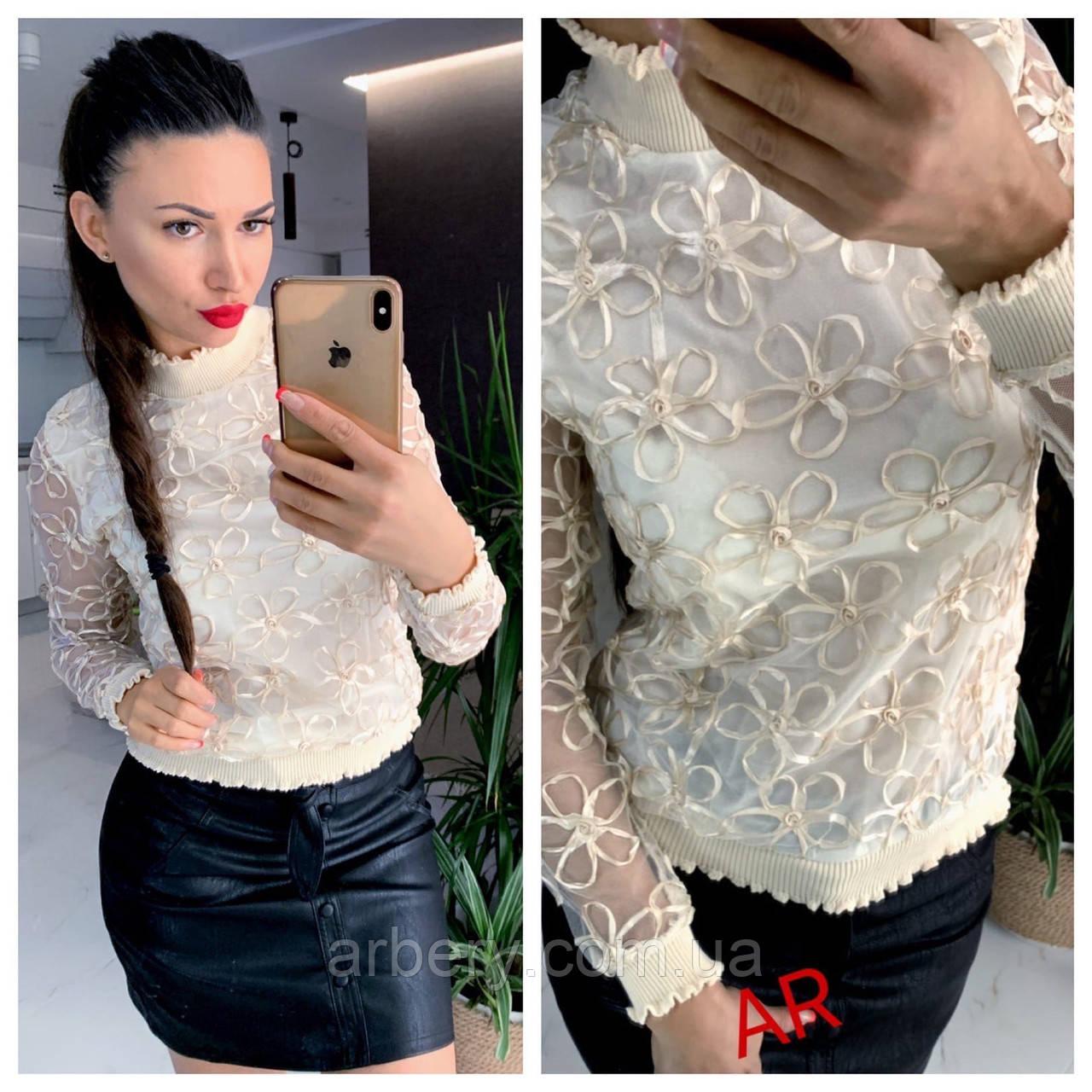 Шикарная прозрачна блузка с вышивкой