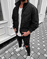 Куртка чоловіча коттоновая щільна оверсайз чорного кольору.