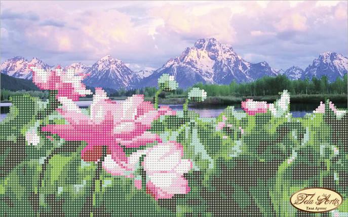 """Рисунок на ткани для вышивания бисером """"Цветы лотоса"""", фото 2"""