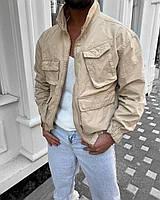 Куртка чоловіча коттоновая щільна оверсайз бежевого кольору.