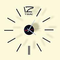 Часы настенные 3D наклейки Бескаркасные часы на кухню Бесшумные 3 д 60 х 60 см стикеры на стену